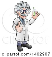 Clipart Of A Happy Male Scientist Holding A Test Tube And Giving A Thumb Up Royalty Free Vector Illustration