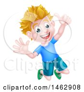Clipart Of A Cartoon Happy Excited Blond Caucasian Boy Jumping And Giving A Thumb Up Royalty Free Vector Illustration
