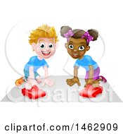 Clipart Of A Happy White Boy And Black Girl Playing With Toy Cars Royalty Free Vector Illustration