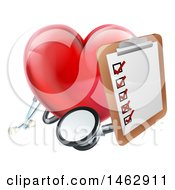 Clipart Of A 3d Shiny Red Love Heart With A Clipboard And Stethoscope Royalty Free Vector Illustration by AtStockIllustration