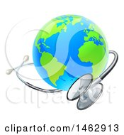 Clipart Of A 3d World Earth Globe With A Stethoscope Royalty Free Vector Illustration