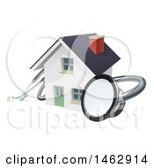 3d Stethoscope Around A White Home