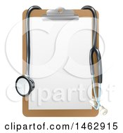3d Stethoscope Draped On A Clip Board
