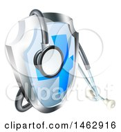3d Stethoscope Draped On A Medical Shield
