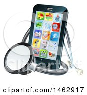 Clipart Of A 3d Medical Stethoscope Around A Smart Phone With Apps On The Screen Royalty Free Vector Illustration