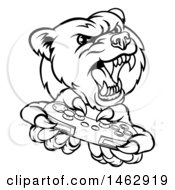 Black And White Mad Grizzly Bear Mascot Holding A Video Game Controller