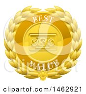 Clipart Of A Laurel Wreath Badge With Best Value Text Royalty Free Vector Illustration by AtStockIllustration