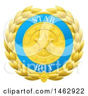 Clipart Of A Laurel Wreath Badge With Star Buy Text Royalty Free Vector Illustration by AtStockIllustration