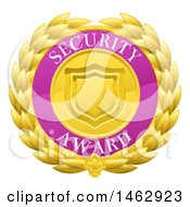 Clipart Of A Laurel Wreath Badge With Security Award Text Royalty Free Vector Illustration by AtStockIllustration