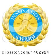 Clipart Of A Laurel Wreath Badge With Innovation Award Text Royalty Free Vector Illustration by AtStockIllustration