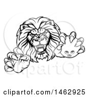 Poster, Art Print Of Black And White Tough Clawed Male Lion Monster Mascot Holding A Bowling Ball