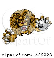 Clipart Of A Tough Clawed Male Lion Monster Mascot Holding A Soccer Ball Royalty Free Vector Illustration