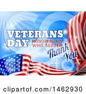3d Waving American Flag With Veterans Day Honoring All Who Served Thank You Text And Blue Sky