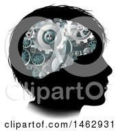 Poster, Art Print Of Black Silhouetted Boys Head With 3d Gear Cogs Visible In His Brain