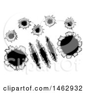 Clipart Of Bullet Holes And Slashes Through Metal Royalty Free Vector Illustration by AtStockIllustration