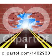 Clipart Of A Road Leading Through A Hole In A 3d Red Brick Wall Royalty Free Vector Illustration by AtStockIllustration