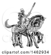 Black And White Etched Or Woodcut Medieval Knight On A Horse Holding A Sword And Shield