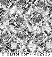 Clipart Of A Black And White Seamless Woodcut Styled Water Lily Lotus Flower Background Royalty Free Vector Illustration