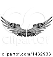 Clipart Of A Black And White Pair Of Feathered Wings Royalty Free Vector Illustration