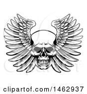 Clipart Of A Black And White Woodcut Etched Or Engraved Winged Skull Royalty Free Vector Illustration
