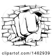 Clipart Of A Black And White Fist Punching Through A Brick Wall Royalty Free Vector Illustration