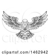 Clipart Of A Black And White Cartoon Swooping American Bald Eagle With A Basketball In His Talons Royalty Free Vector Illustration