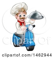 Cartoon Happy White Male Chef Holding A Cloche On A Delivery Scooter