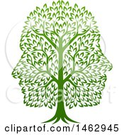 Clipart Of A Green Tree With Profiled Faces In The Canopy Royalty Free Vector Illustration