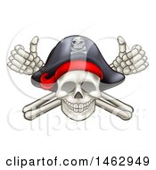 Clipart Of A Skull And Crossbones Jolly Roger With A Pirate Hat And Thumbs Up Royalty Free Vector Illustration by AtStockIllustration
