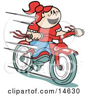 Happy Red Haired Girl Speeding Downhill On Her Brand New Red Bike Retro Clipart Illustration by Andy Nortnik