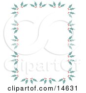 Stationery Border Of Holly And Berries Retro Clipart Illustration
