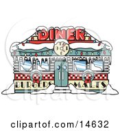 Retro Diner In Snow Decorated In Christmas Wreaths And Lights Retro Clipart Illustration by Andy Nortnik