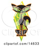 Mysterious Thin Black Cat Sitting In Front Of A Green Diamond With The Moon And Stars Clipart Illustration