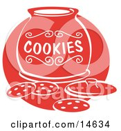 Chocolate Chip Cookies On A Counter In Front Of An Open Cookie Jar Clipart Illustration