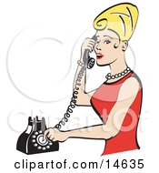 Pretty Blond Woman With Tall Hair Wearing Pearls And A Red Dress And Talking On A Rotary Dial Landline Telephone