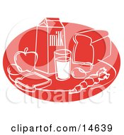 Still Life Of Food Including Eggs Apple Carton Of Milk Glass Of Milk Sliced Bread And A Carrot Clipart Illustration