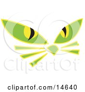 Pair Of Green Cat Eyes And Whiskers Glowing In The Dark Clipart Illustration