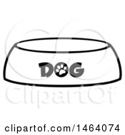 Clipart Of A Black And White Dog Bowl Royalty Free Vector Illustration
