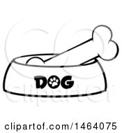 Clipart Of A Black And White Dog Bone In A Bowl Royalty Free Vector Illustration by Hit Toon