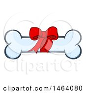 Clipart Of A Bow On A Dog Bone Royalty Free Vector Illustration by Hit Toon