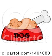 Clipart Of A Dog Bone And Food In A Bowl Royalty Free Vector Illustration