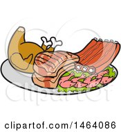 Clipart Of A Platter Of Roasted Chicken Pork Chops Ribs And Shrimp Royalty Free Vector Illustration by LaffToon