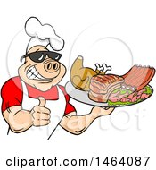 Clipart Of A Happy Muscular Chef Pig Wearing A Hat And Sunglasses Holding A Thumb Up And A Plate Of Bbq Meats Royalty Free Vector Illustration