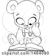Clipart Of A Black And White Cute Teddy Bear Reading A Book Royalty Free Vector Illustration by yayayoyo