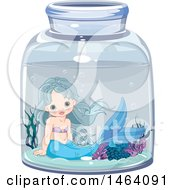 Clipart Of A Cute Mermaid In A Jar Royalty Free Vector Illustration by Pushkin