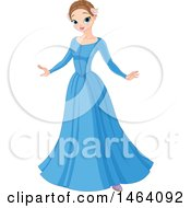 Clipart Of A Pretty Princess In A Blue Dress Royalty Free Vector Illustration