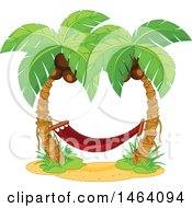 Clipart Of A Red Hammock Between Two Coconut Palm Trees Royalty Free Vector Illustration