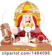 Clipart Of A King Judge Banging A Gavel Over Documents Royalty Free Vector Illustration by Pushkin