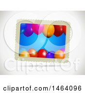 Clipart Of A Gift Card With Party Balloons On A Shaded Background Royalty Free Vector Illustration