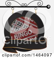 Clipart Of A Bingo Card Shingle Sign Royalty Free Vector Illustration by elaineitalia